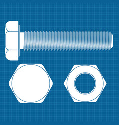 Bolt screw icon white outline drawing on vector