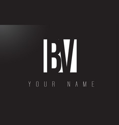 Bv letter logo with black and white negative vector