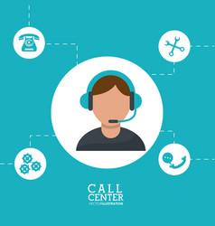 Call center man operator wearing headphone support vector