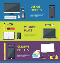 cartoon designer workplace banner horizontal set vector image