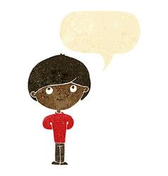 Cartoon happy boy with speech bubble vector