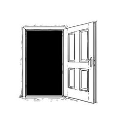 Cartoon open wooden decision door vector