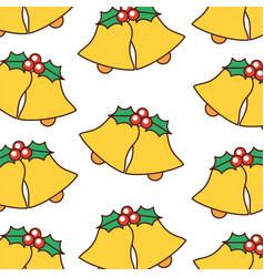 christmas decoration bells floral ornament pattern vector image