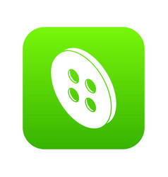 Classic shirt button icon green vector