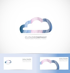 Cloud computing logo 3d vector