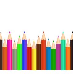 color pencil crayon for draw in school bottom row vector image