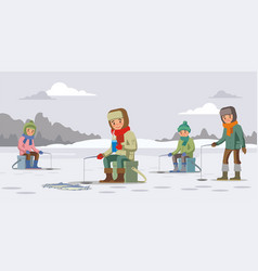 Colorful winter fishing concept vector