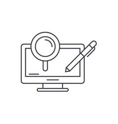 computer processes line icon concept computer vector image