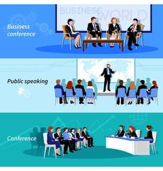 Conference Public Speaking 3 Flat Banners vector image