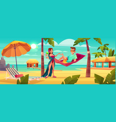 couple resting on tropical resort cartoon vector image
