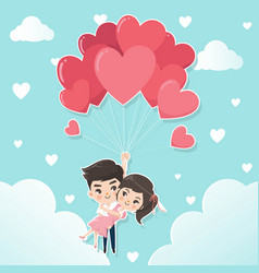 couples in a heart shaped balloon vector image