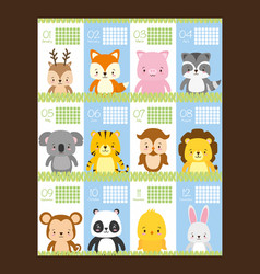 Cute animals calendar vector