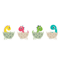 cute cartoon dinosaurs collection vector image