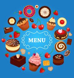Dessert menu cake donut food sweet strawberry vector