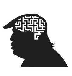 Donald trump silhouette and maze icon vector