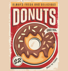 Donuts promotional retro poster design vector