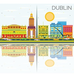 Dublin Skyline with Color Buildings vector
