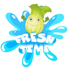 Fresh lettuce with happy face vector