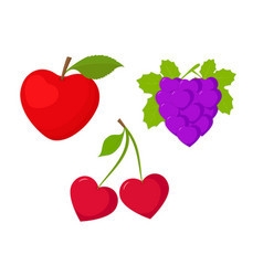 Fruits set as hearts vector