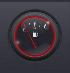Fuel gauge black car dashboard equipment on black vector