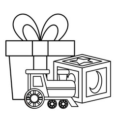 Gift with block and train batoys icons vector