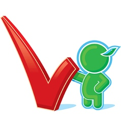 Green hero with positive checkmark vector