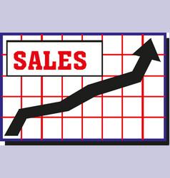 growing graph sales icon vector image