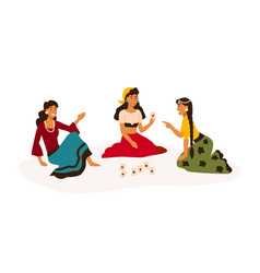Gypsy women in bright traditional clothes reading vector