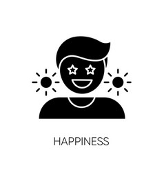 Happiness black glyph icon vector