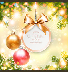 holiday christmas background with gift card and a vector image