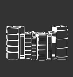 Horizontal stack books in monochrome style vector