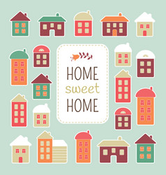 house icons home sweet home lettering quote vector image