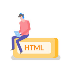 Html freelancer man working on laptop coder coding vector