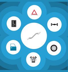 icon flat auto set of wheel emergency stop vector image vector image