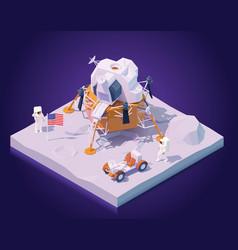 Isometric astronauts on moon mission vector