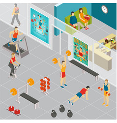 Isometric gym room composition vector