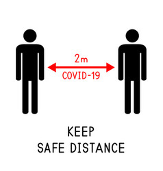 Keep safe distance 2 meters covid-19 vector