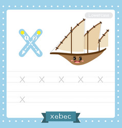 Letter x lowercase tracing practice worksheet vector