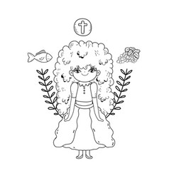 Little girl and set icons in first communion vector