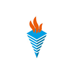 logo torch with flames isometric shape symbol of vector image