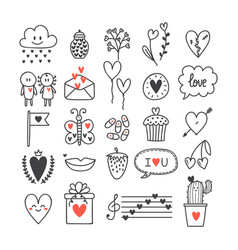 love and hearts hand drawn set of cute doodle vector image