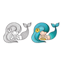 lying dreamy mermaid cute cartoon character vector image