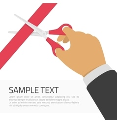 Mans hand cutting a red ribbon vector image