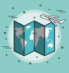 Map and airplane design vector