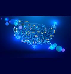 Map usa as a printed circuit board vector