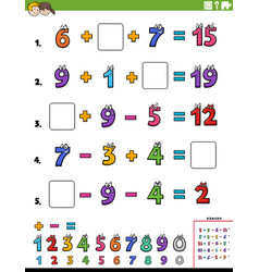 Maths calculation educational worksheet page vector