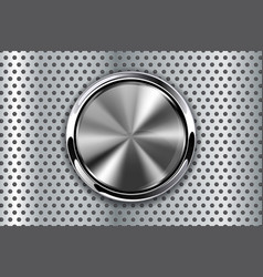 Metal perforated background with round button vector
