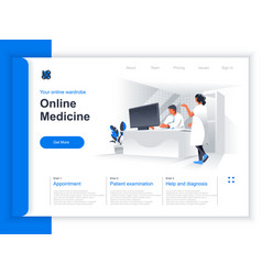 online medicine isometric landing page vector image