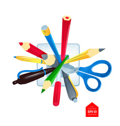 pens and scissors in holder vector image