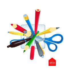 Pens and scissors in holder vector